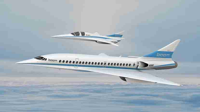 A rendering of the two-seat Boom XB-1 supersonic demonstrator and the Boom airliner