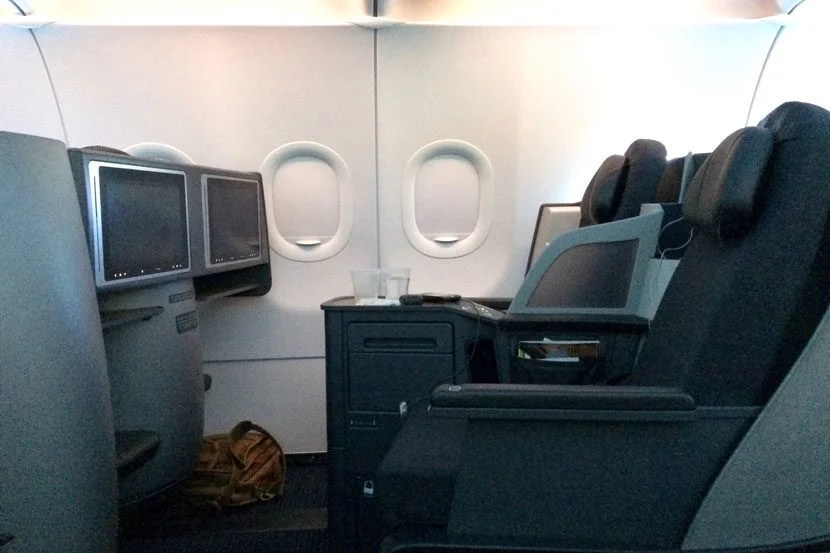 A side-view of our business-class seats.