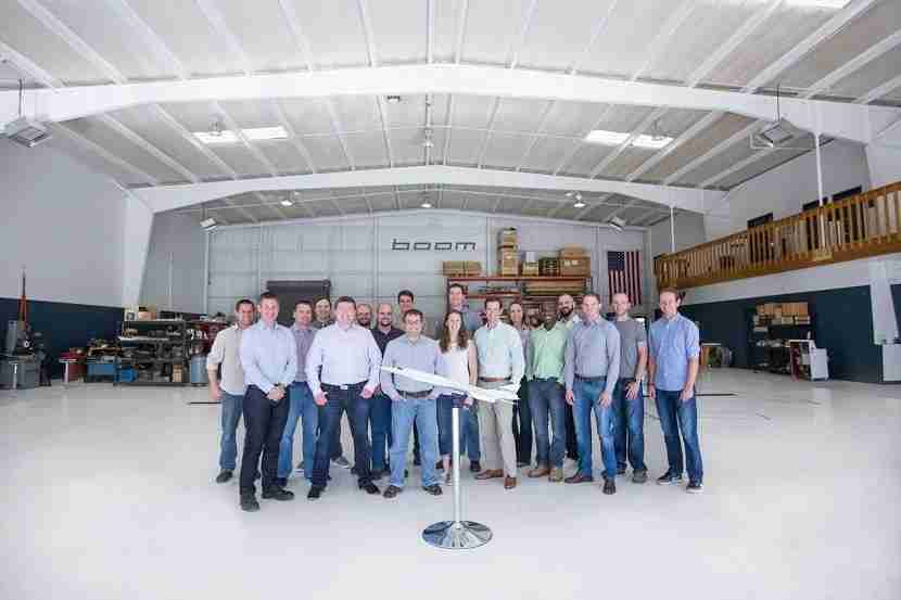The small team of engineers at Boom Technology in Denver.
