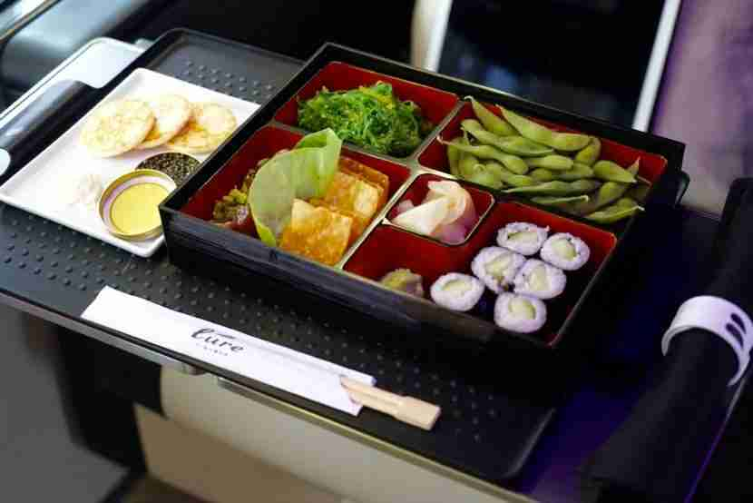Caviar and a bento box full of Japanese cuisine was available to eat on Thursday