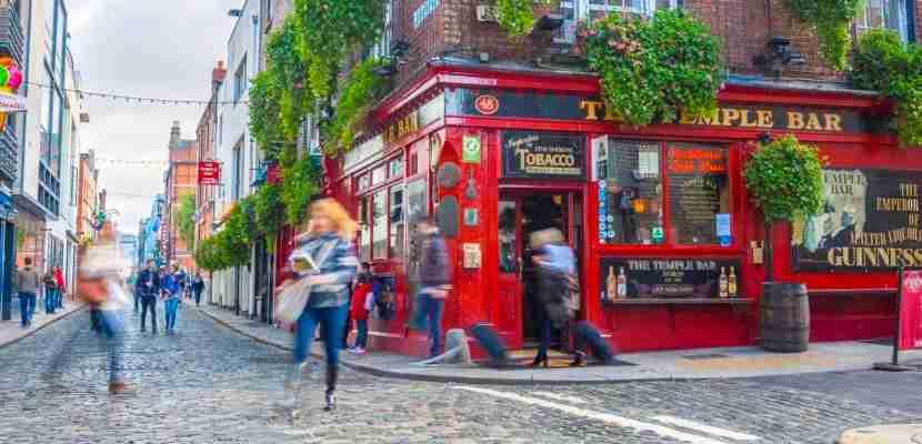 Dublin, Ireland - Oct 19, 2014: People around The Temple Bar in Dublin, Ireland on October 19, 2014