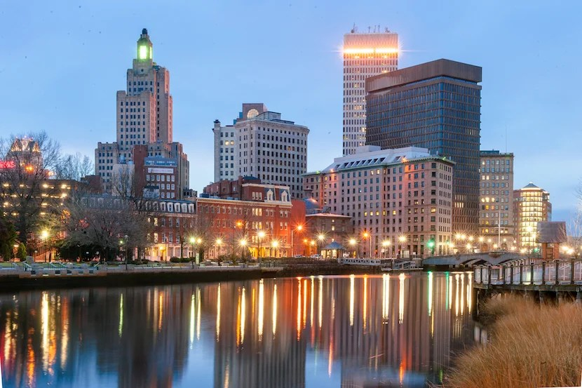 The skyline of downtown Providence. Image courtesy of Yiming Chen via Getty Images.