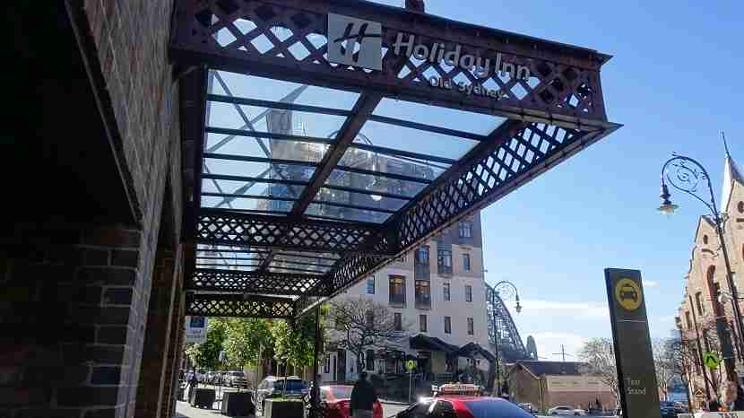 Step out of the Holiday Inn Old Sydney and onto the Sydney Harbour Bridge in the near distance. Image by the author.