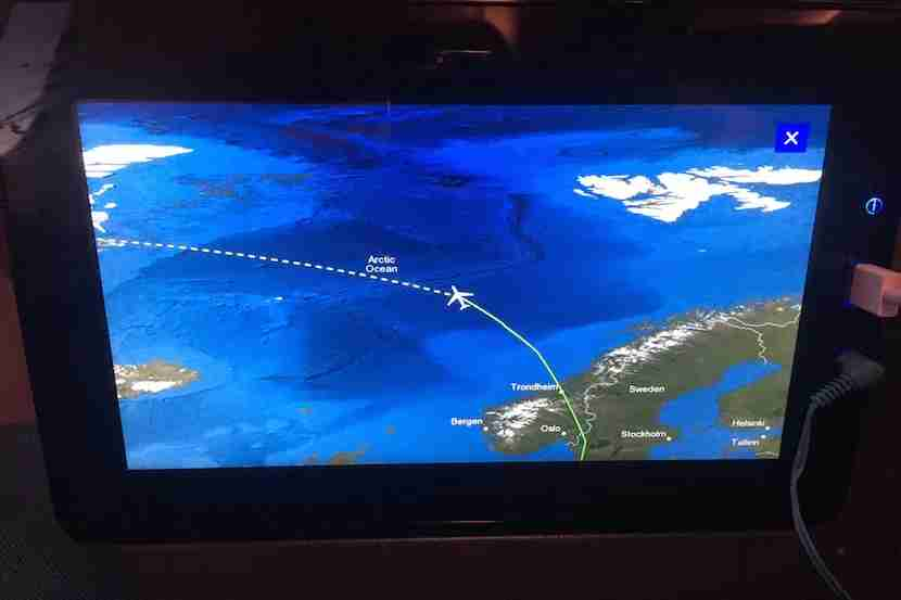 The easy to use flight tracking feature showed our northernly track to SFO.