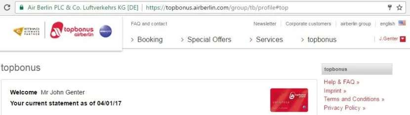 Another work-around: logging into the Air Berlin Top Bonus account from another country.