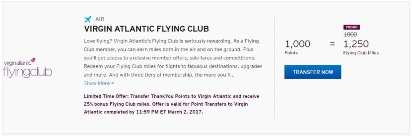 Get a 25% bonus when you transfer Citi ThankYou points to Virgin Atlantic Flying Club miles.