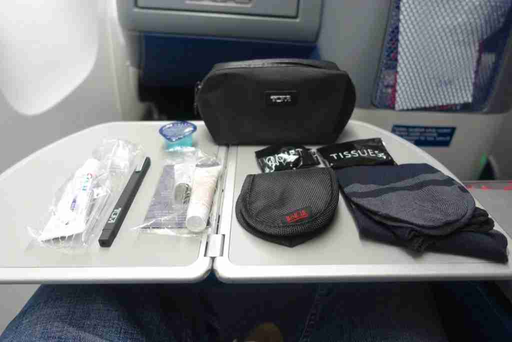 Delta offers TUMI amenity kits in business class.