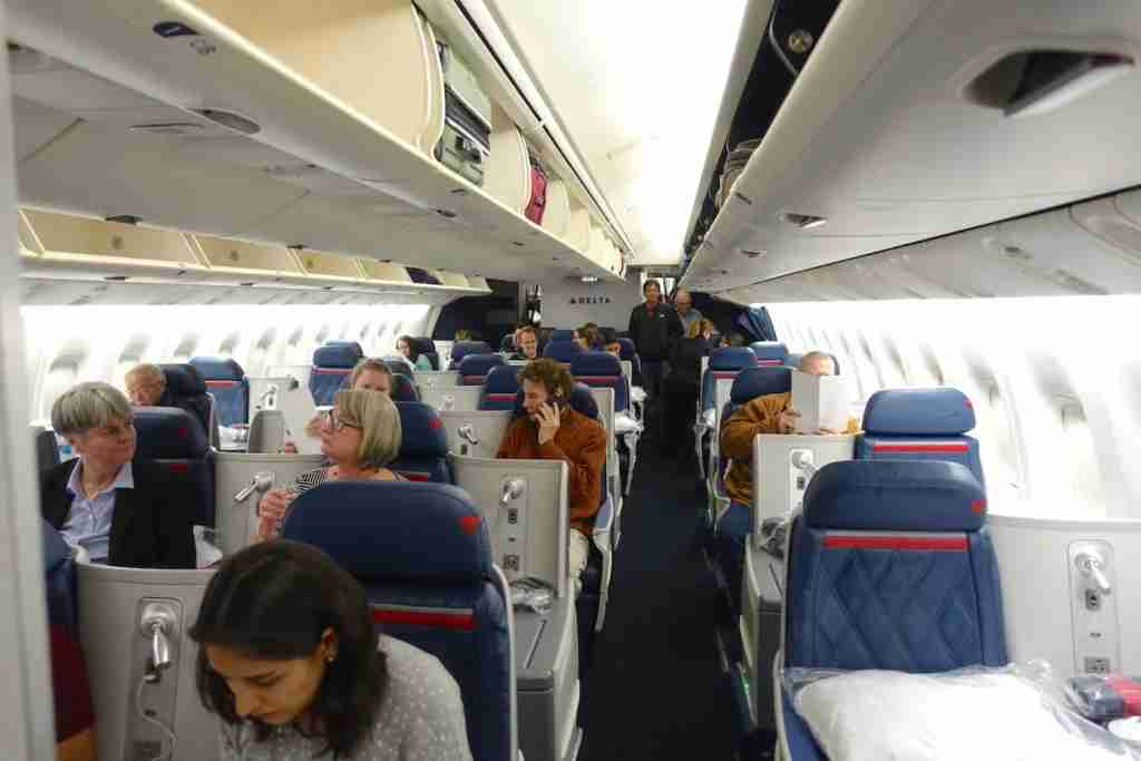 The whole business-class section is in a single cabin.