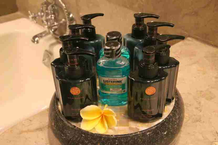 While I did take these luxury toiletries from the Intercontinental Bali for a guest bathroom, anything less I leave behind. Image courtesy of the author.