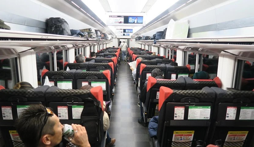The interior of the Narita Express.