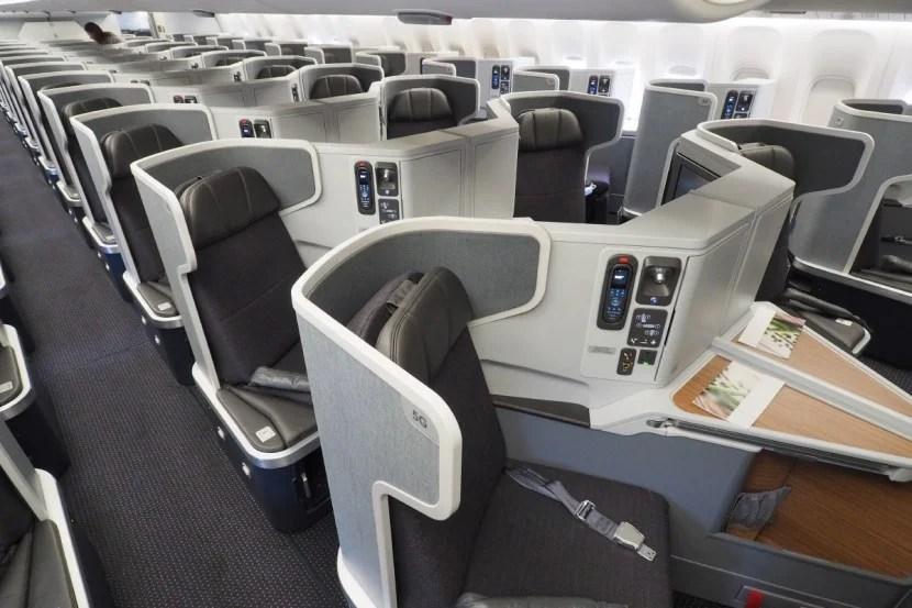 The business-class cabin aboard an American 777-300ER.