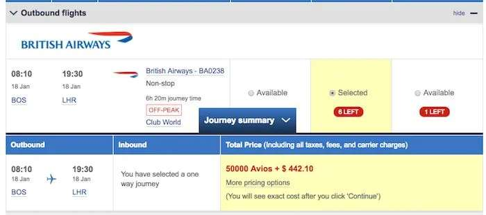 The shortest BA route to London from the US will still cost over $400 for a business class award ticket.