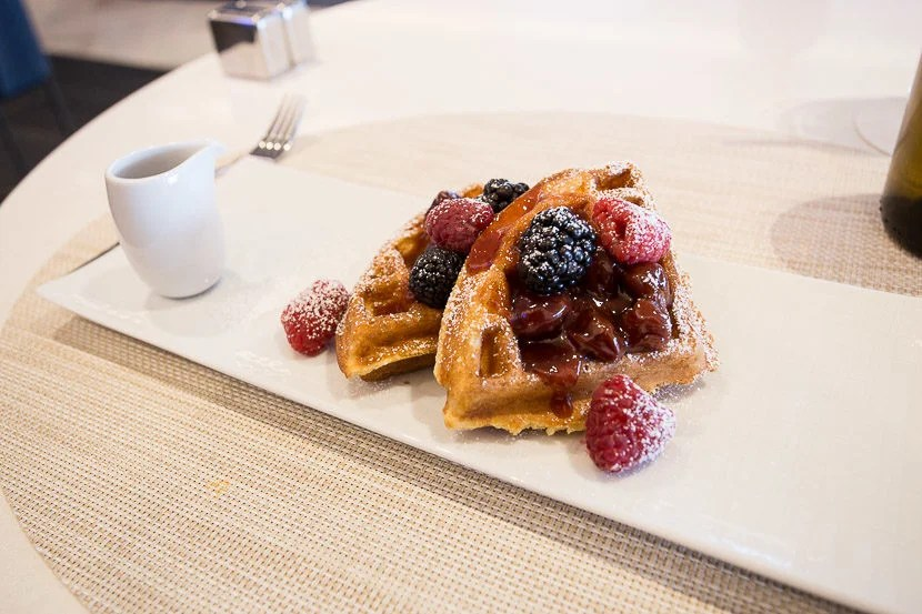 The Belgian waffles were delicious as well, though I didn't care for the cherry compote as much.