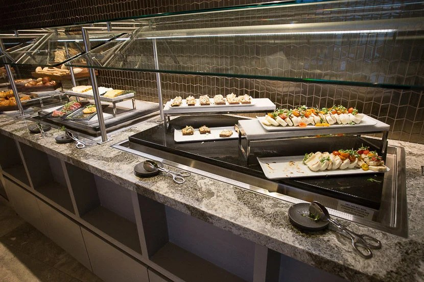 There are salads and cheese on offer in the buffet, if you would like - but if you have time, definitely take advantage of the sit-down dining option instead.