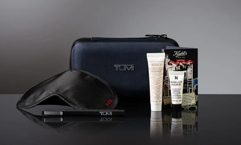 Delta gives its business-class passengers TUMI amenity kits.