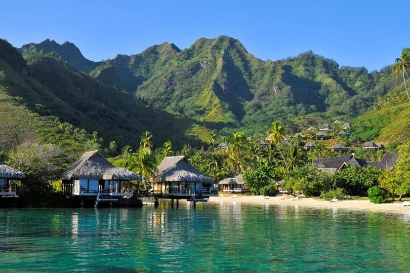 Soak up views of the volcanic peaks and ocean with a stay at InterContinental Moorea Resort & Spa on Moorea. Image courtesy of InterContinental Moorea Resort & Spa's Facebook page.