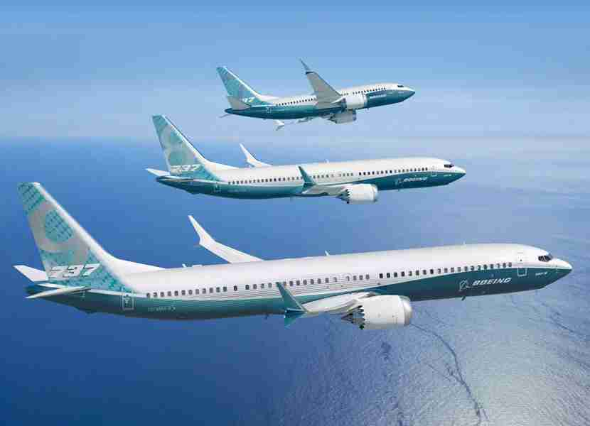 The key differences in the 737 family are the size and wing shape: The older 600 and 700 variations (not shown) are smaller and have curved winglets instead of the split winglets on the latest-generation MAX aircraft (shown above). Image courtesy of Boeing.
