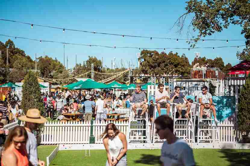 Play a round of croquet while catching live music at the summer pop-up Royal Croquet Club in Birrarung Marr park. Image courtesy of Royal Croquet Club.