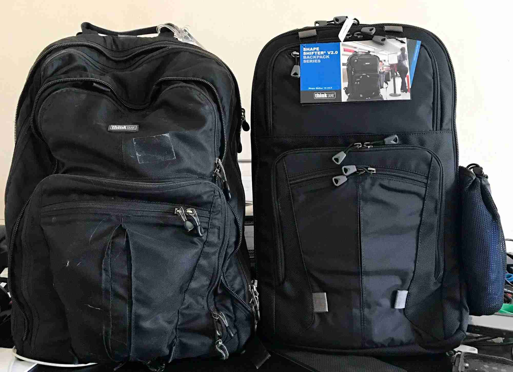 After seven years of daily service, I finally retired my first Think Tank Shape Shifter backpack, left, replacing it with the new version 2.0, right. I typically carry my most critical gear and laptop inside. Image courtesy of the author.