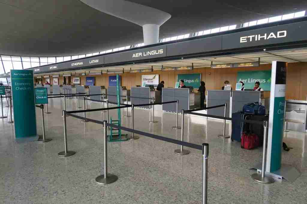 The Aer Lingus check-in desk was empty when I arrived.