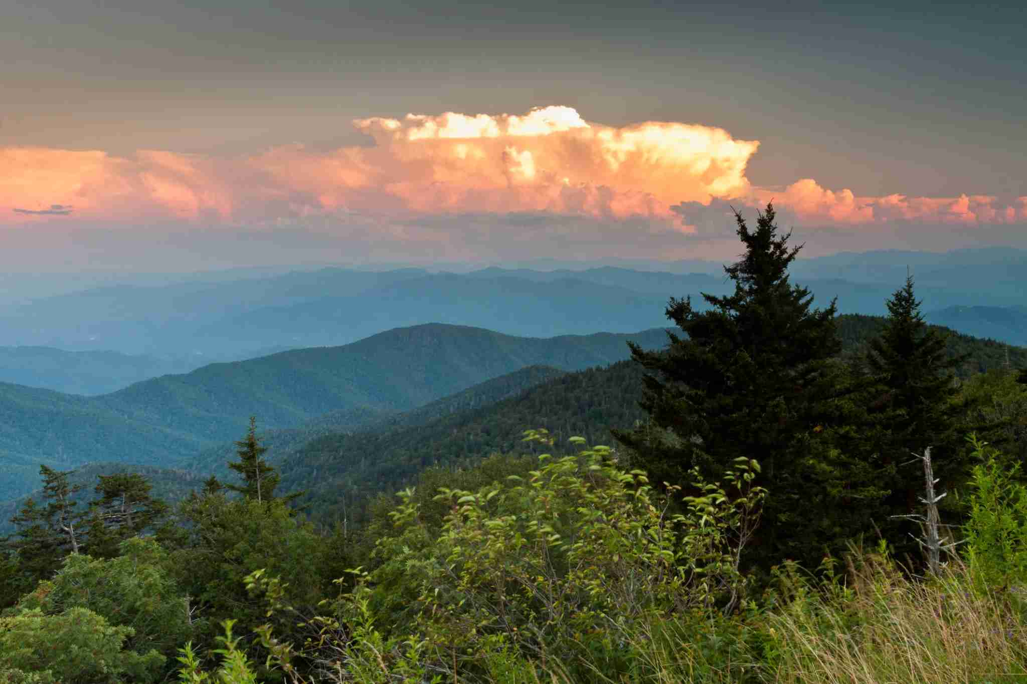 Sunset from Clingmans Dome in Great Smoky Mountains National Park. Image courtesy of Wray Sinclair via Getty Images.