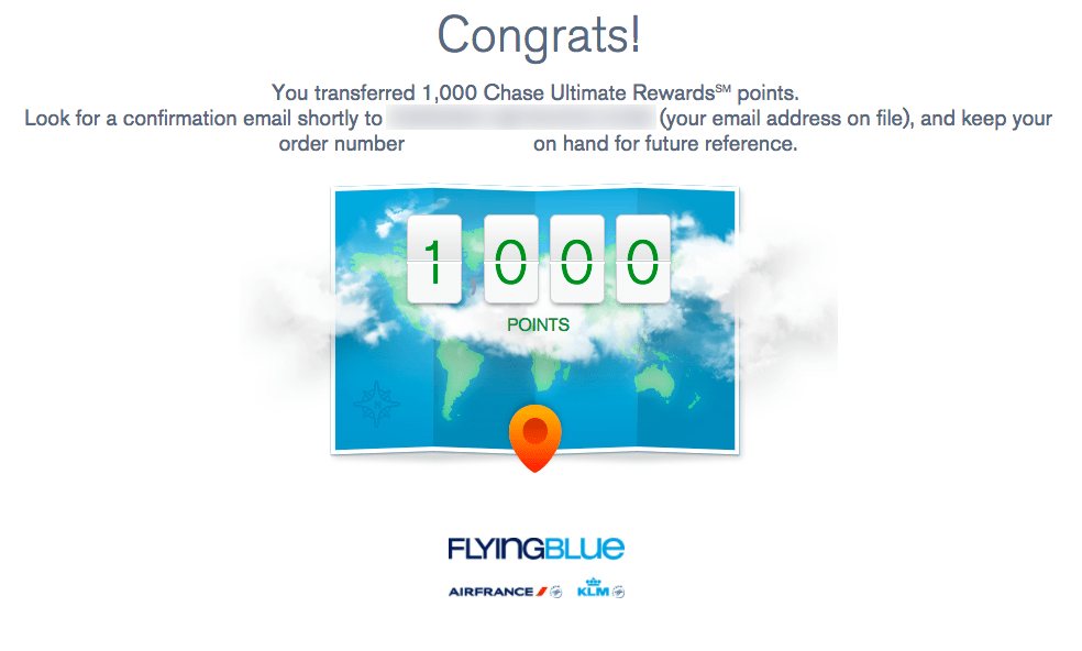 Transferring Ultimate Rewards Points to Flying Blue