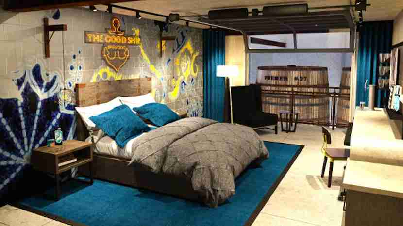 DogHouse rooms are designed with beer drinkers in mind. Image courtesy of BrewDog via Indiegogo.