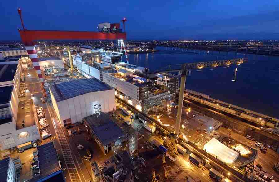 The shipyard in St. Nazaire, France. Image courtesy of Royal Caribbean.