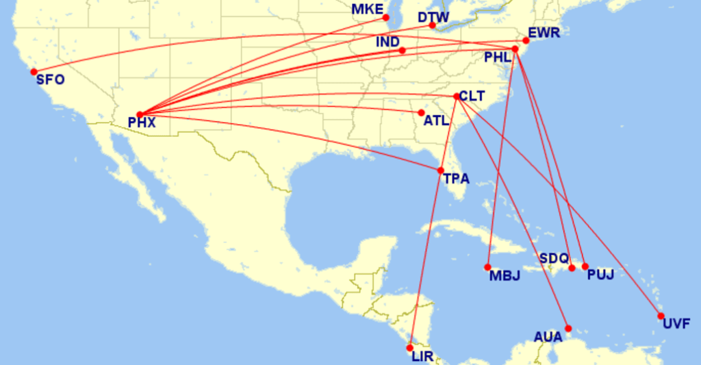 Heres How To Avoid American Airlines Oldest Planes - Us airways direct flights map