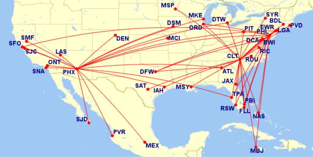 AA A320 routes