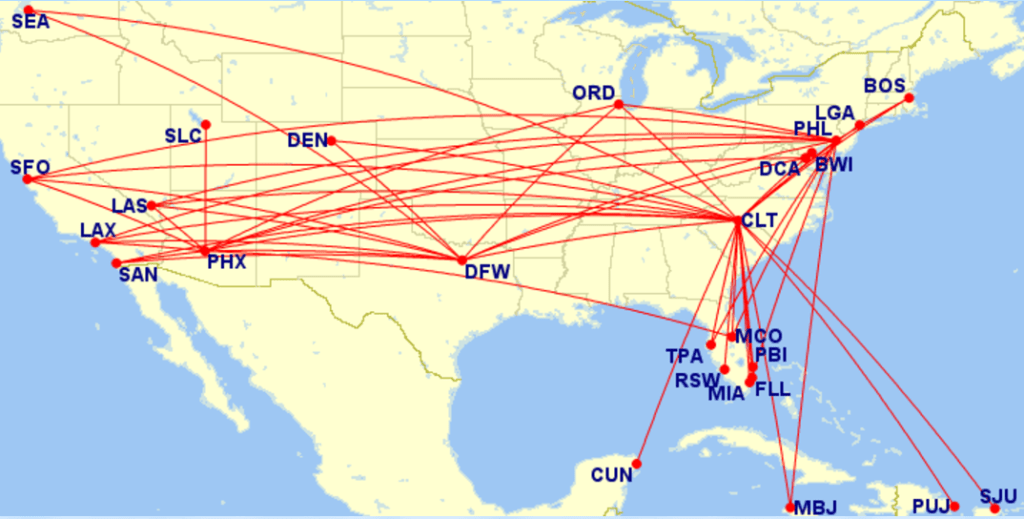 AA A321 routes