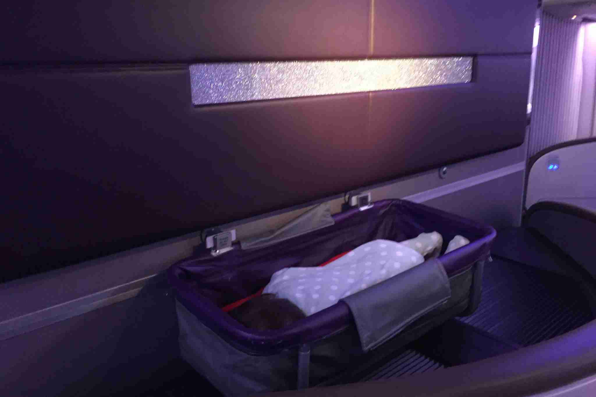 Evy in bassinet on Virgin Atlantic