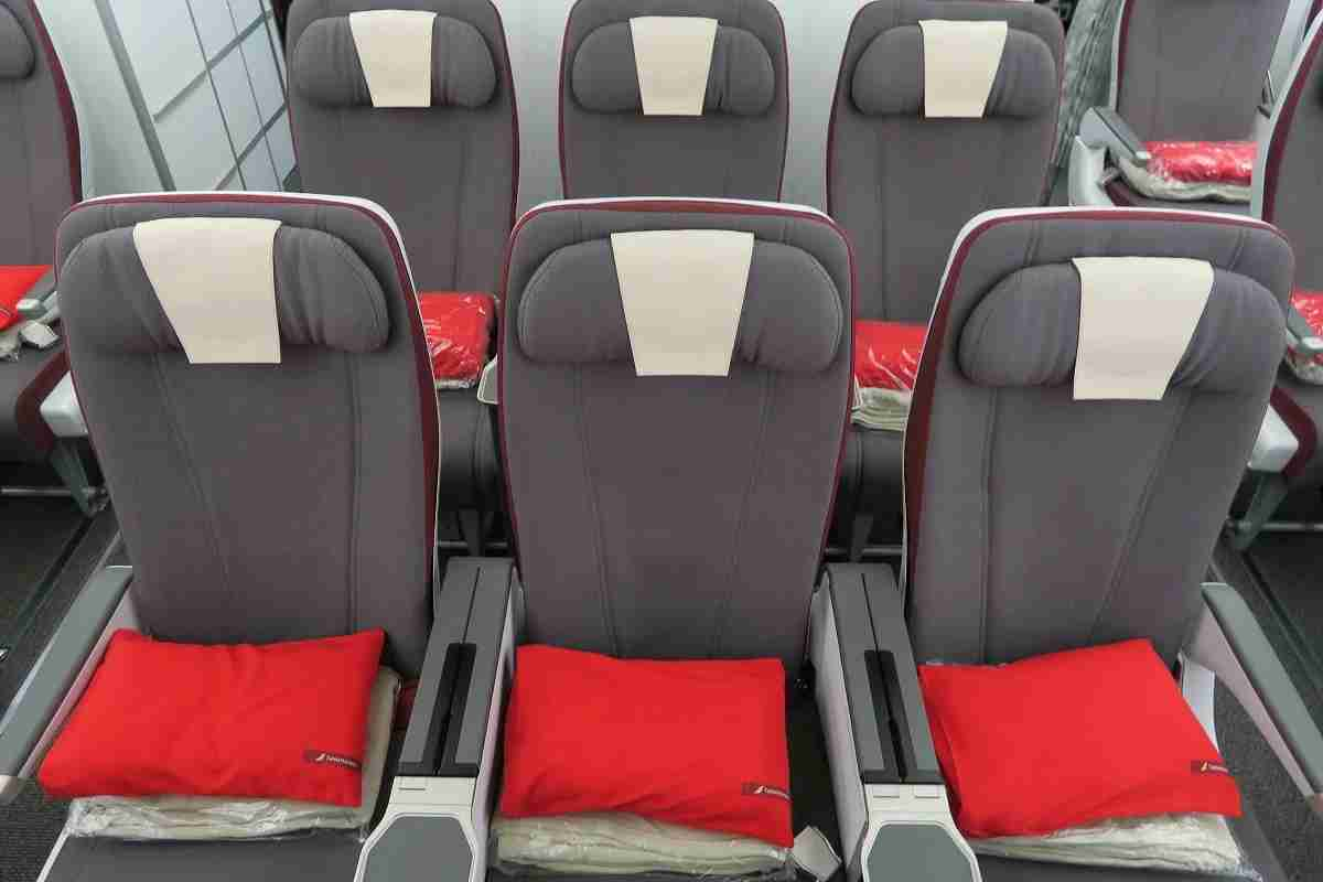 Iberia A340-600 pillows and blankets on seats