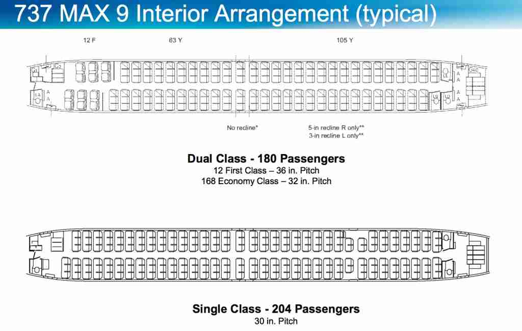 MAX-9 typical seating configuration. Courtesy: Boeing