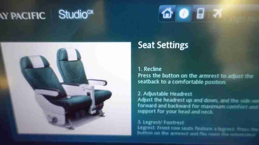How to use your seat, as per the IFE screens