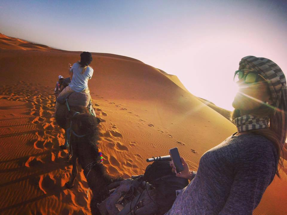 Yours truly traversing the Sahara in my Berber-style head wrap.