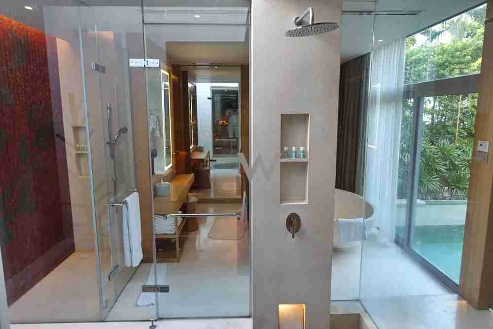 The shower area.