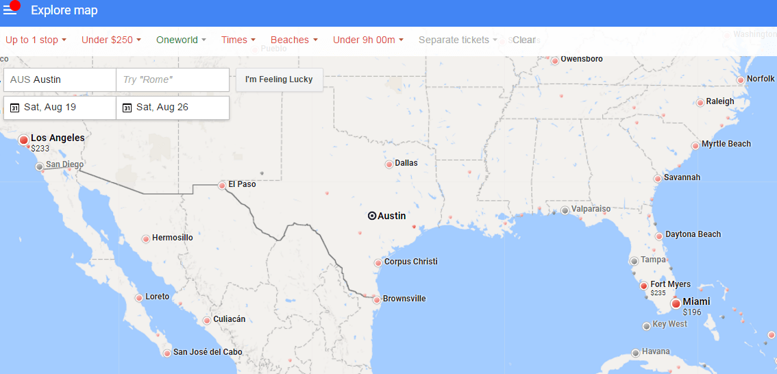 Google Traffic Map Florida.Tip Use Google Flights Explore Map To Find A Cheap Getaway