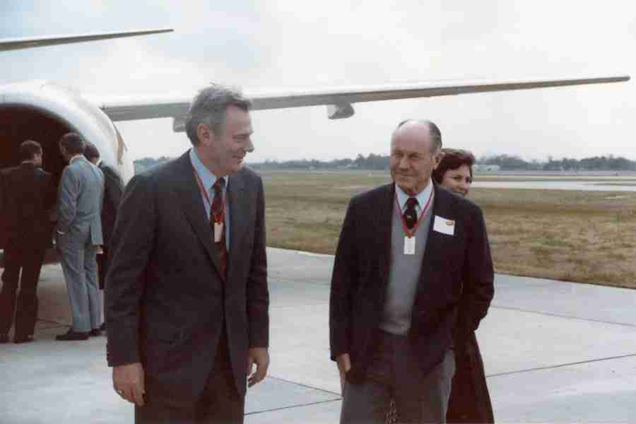 Southwest Founder Herb Kelleher chats with General Chuck Yeager at the delivery of Southwest