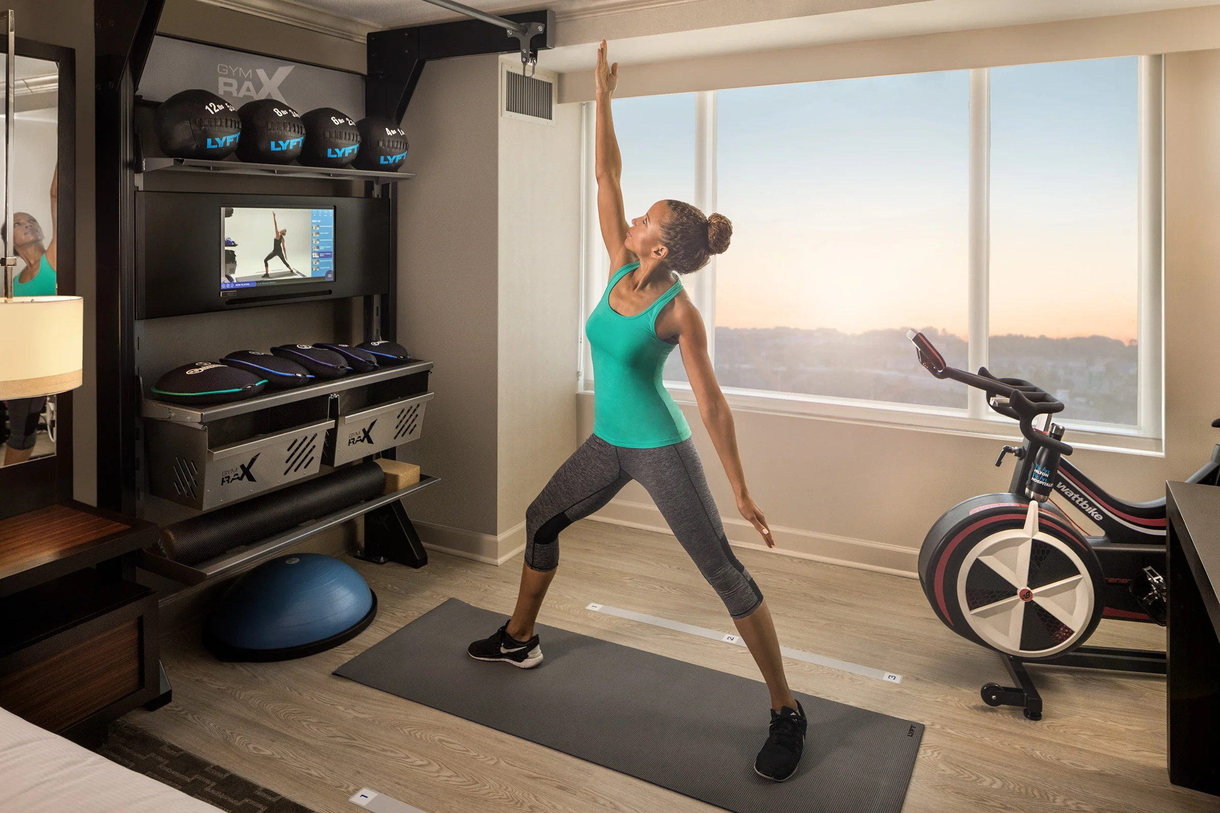 chair gym exercise book rustic pub table and chairs hilton 39s new hotel rooms are centered around fitness