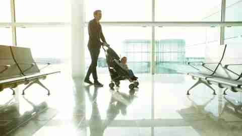 Strollers can be checked at the gate