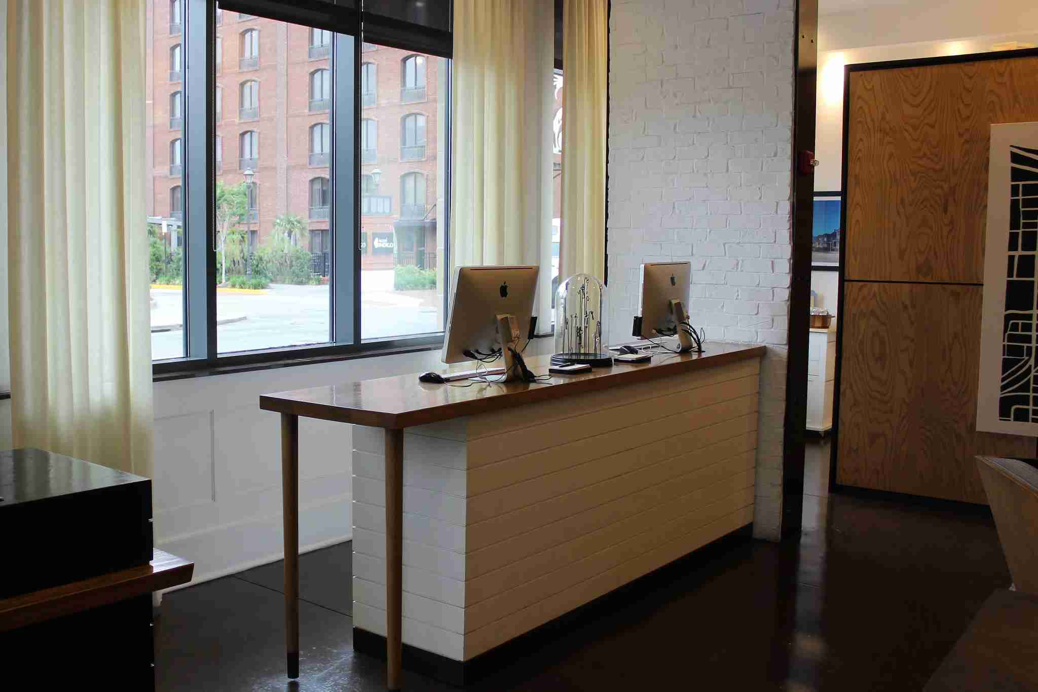 The Andaz had a small work station with two Mac desktop computers.
