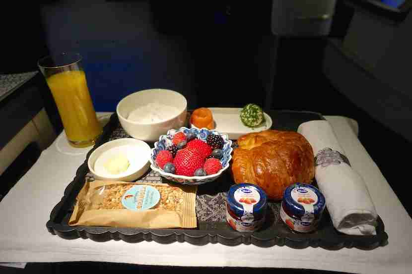 The breakfast tray before landing.