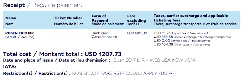 My total fare came to just $1,208.