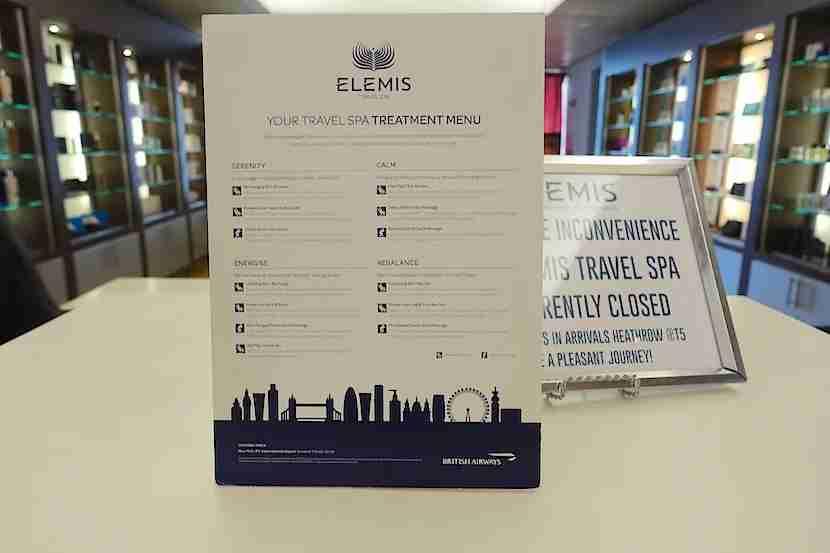 BA lounge Elemis spa