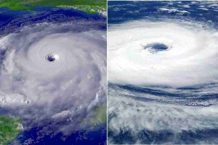 On the left, a hurricane in the Northern Hemisphere spinning counter-clockwise. On the right, a cyclone in the Southern Hemisphere spinning clockwise. Both pictures courtesy of Wikimedia Commons.