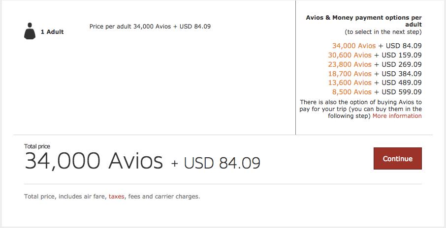 Iberia Avios option