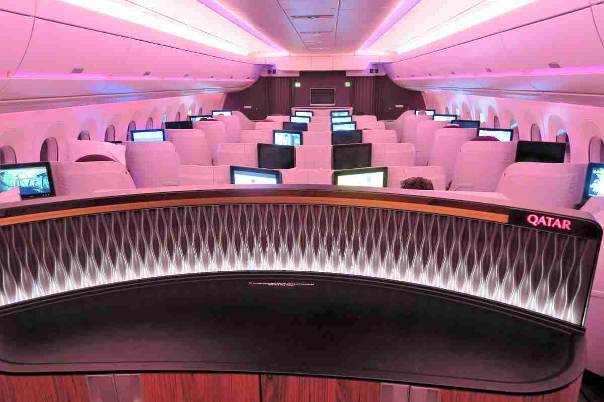 Qatar A350 bar and front cabin