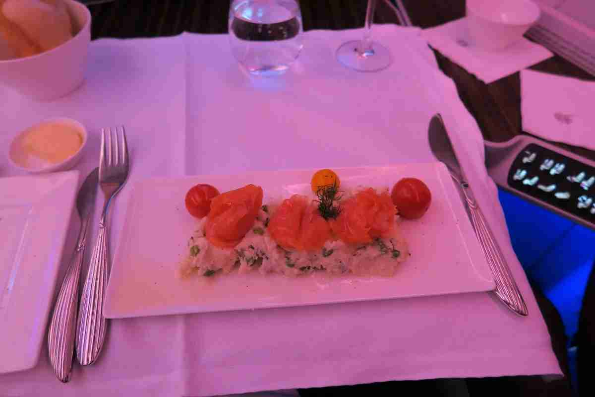 Qatar A350 business salmon appetizer