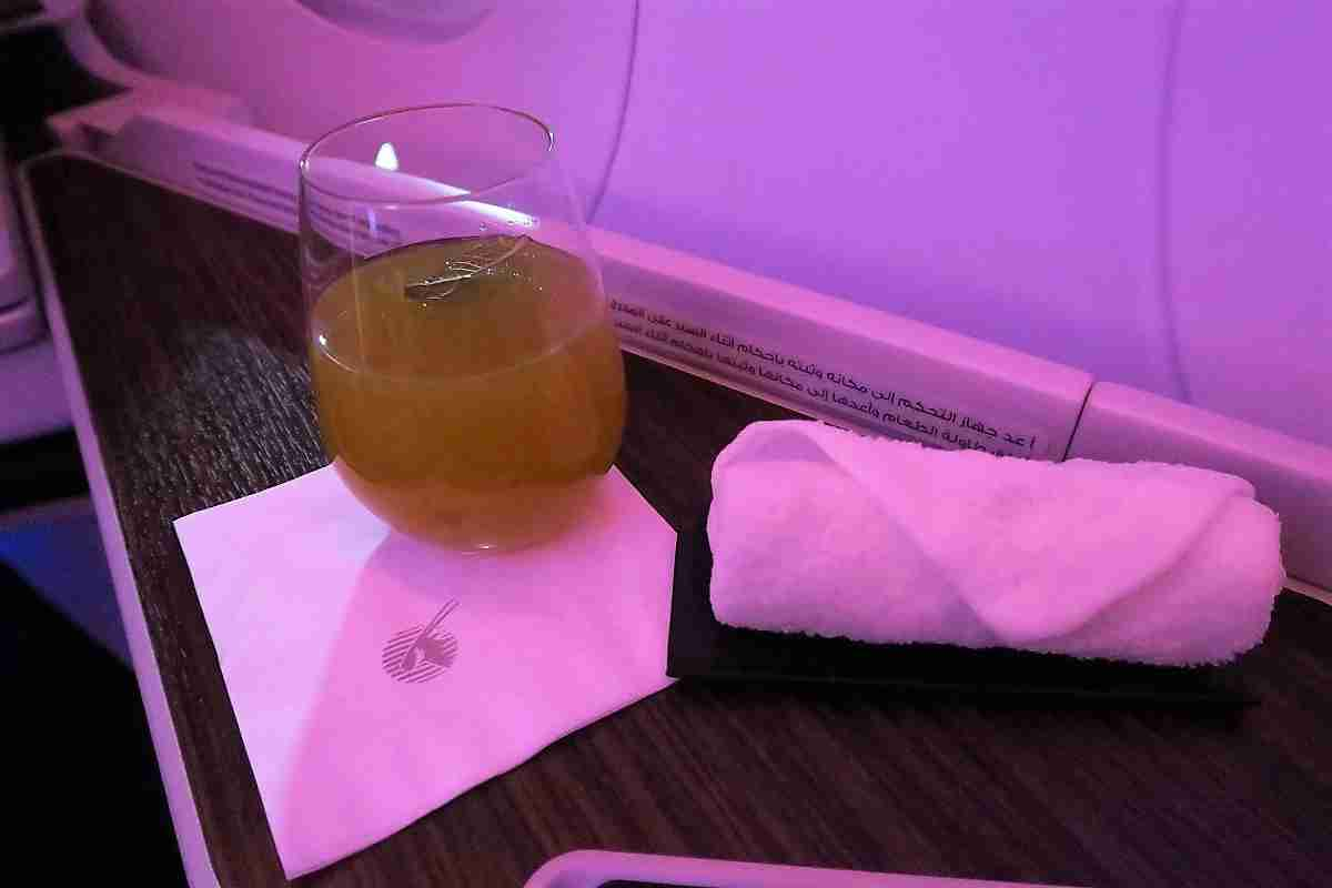 Qatar A350 business welcome drink